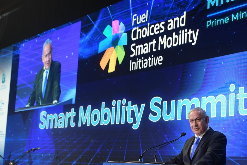 Prime Minister Benjamin Netanyahu at the Smart Mobility Summit in Tel Aviv, October 29, 2018. Amos Ben-Gershom /GPO