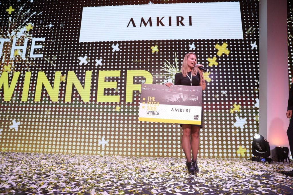 Amkiri, founded by Shavit Shapiro, was the winner at thePITCH competition in Tel Aviv, Wednesday, October 17, 2018. Photo by Shauli Lendner