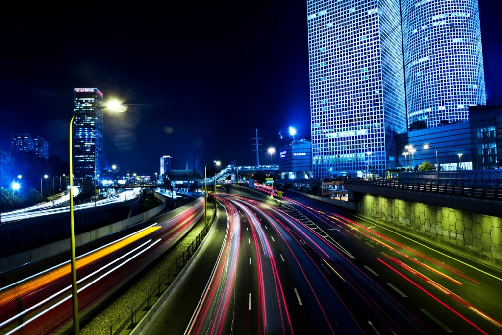 "The Tel Aviv skyline at night. <a href=""http://dep.ph/v/3li6vd-bsat0"" target=""_blank"">Photo via Deposit Photos</a>"