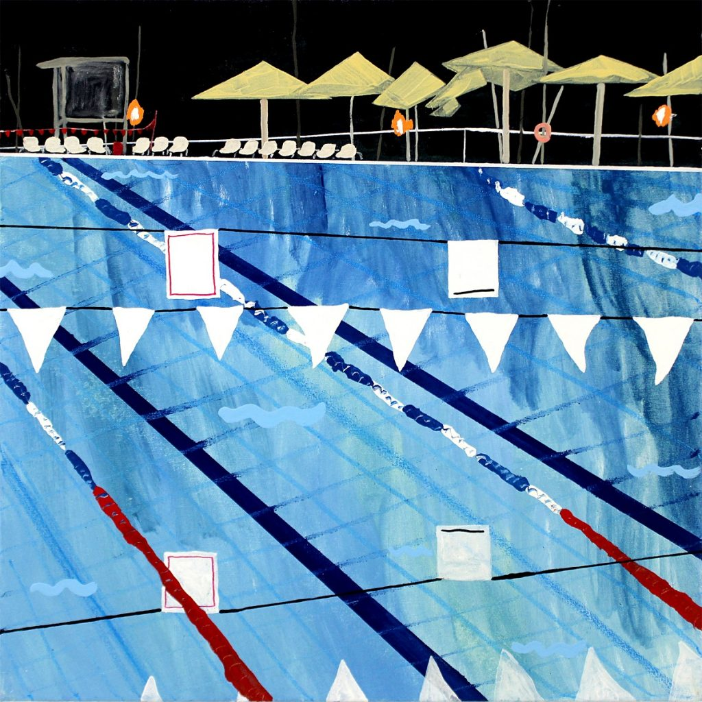 Daniel Oksenberg, Gordon Pool, 2016, oil and industrial paint on canvas. Courtesy