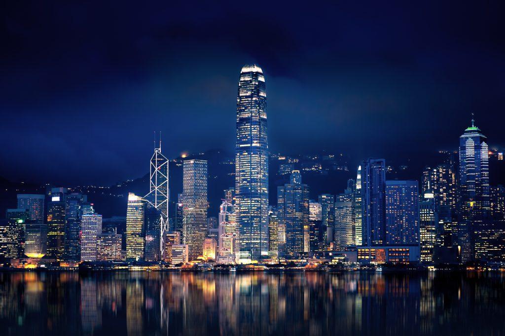 Hong Kong at night Deposit Photos