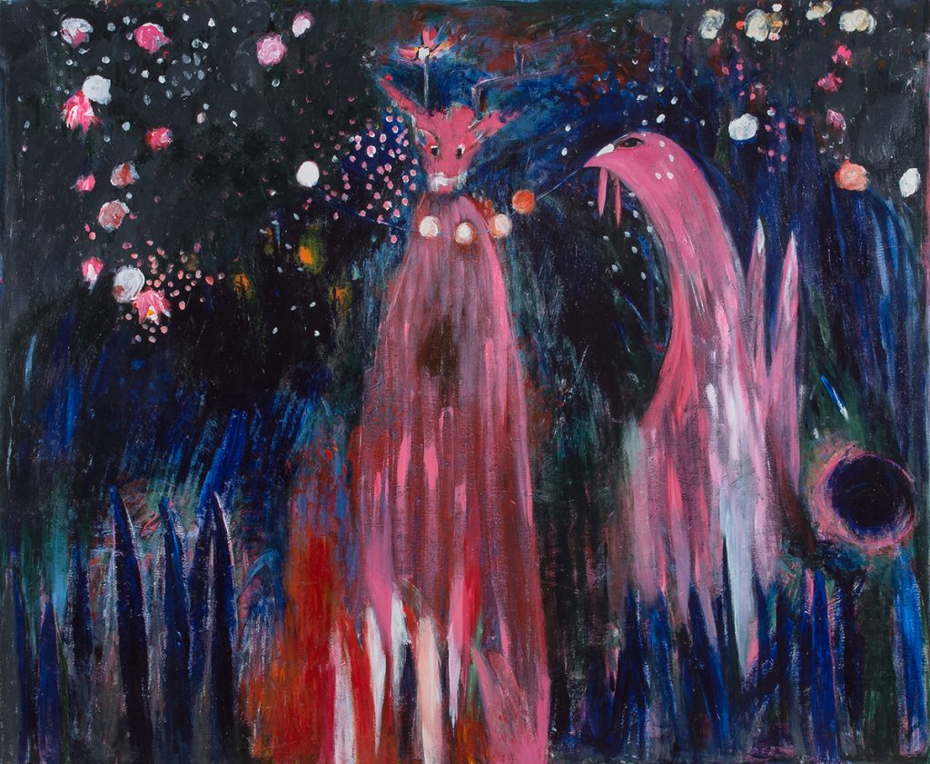 Khen Shish, The Magical Forrest and the Wild Animals, 2017, Acrylic on canvas. Courtesy