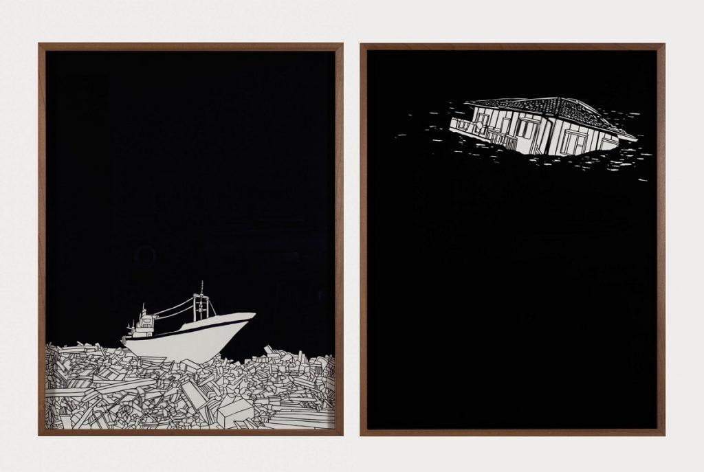 Noa Yekutieli, Sinking While Finally Sailing, 2014, manual paper cutting. Courtesy