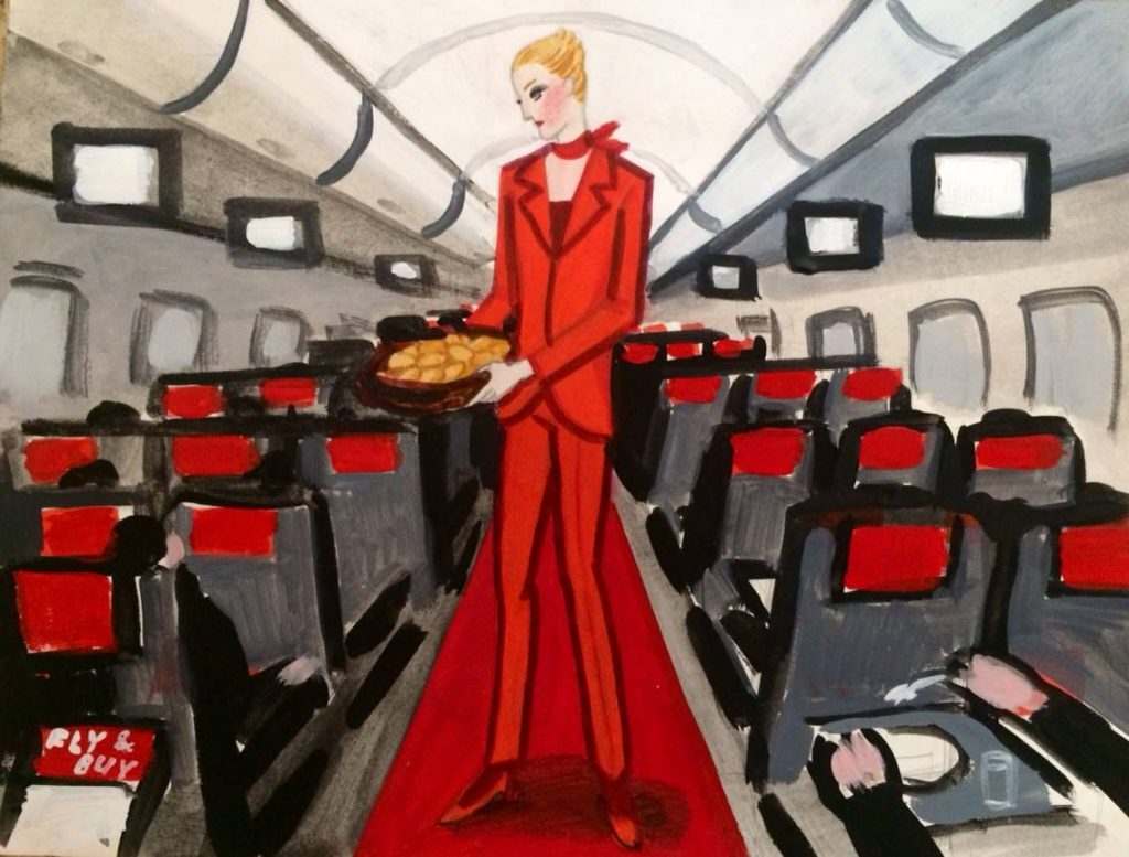 Zoya Cherkassky's, Austrian Airlines, 2016, markers on paper. Courtesy