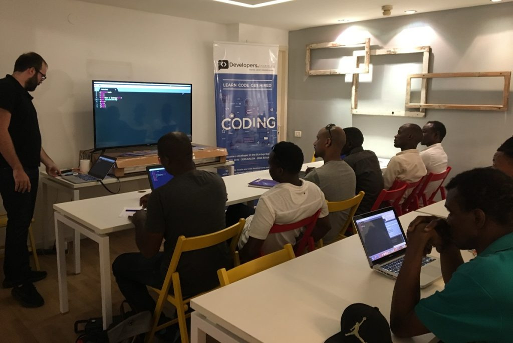 Coding program for refugees at The Developers Institute. Courtesy