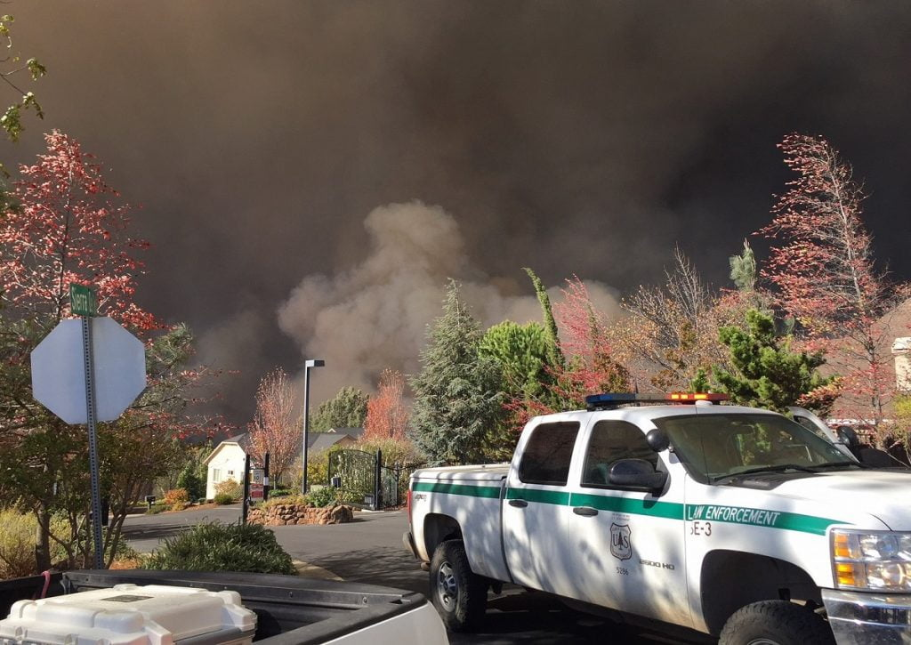 "USDA Forest Service Law Enforcement & Investigations team deployed after the Camp Fire swept through nearby communities including Paradise, Magalia and Concow in Northern California. Forest Service photo by Tanner Hembree <a href=""https://flic.kr/p/Pc3LJv"" target=""_blank"">via Flickr</a>"