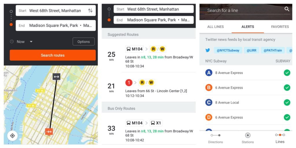 A composite of screenshots from the Moovit app. Photos via Moovit