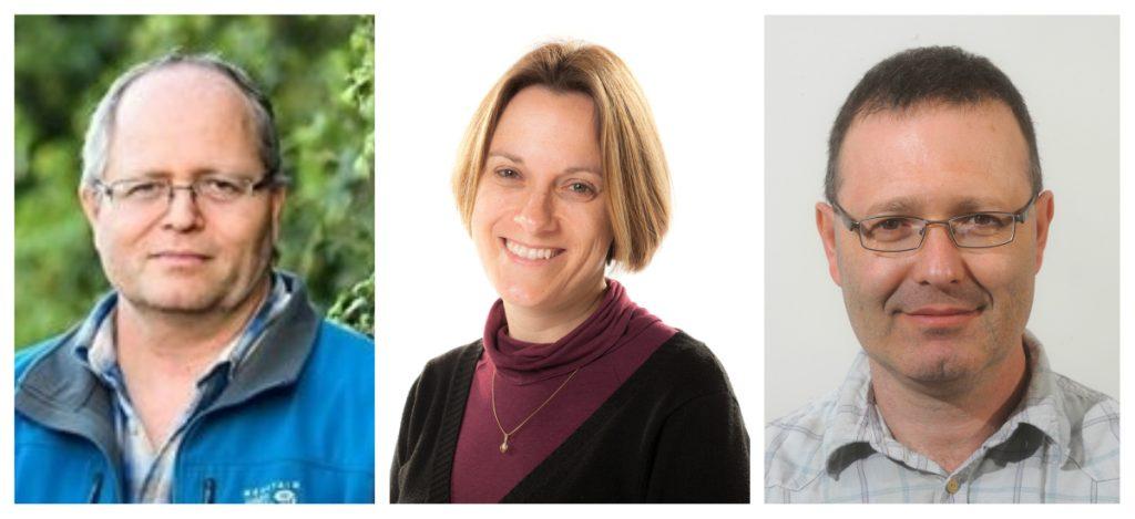 From left: Dr. Arik Yochelis, Dr. Iris Visoly-Fisher, both of Ben-Gurion University of the Negev; and Prof. Avner Rothschild of the Technion. Courtesy
