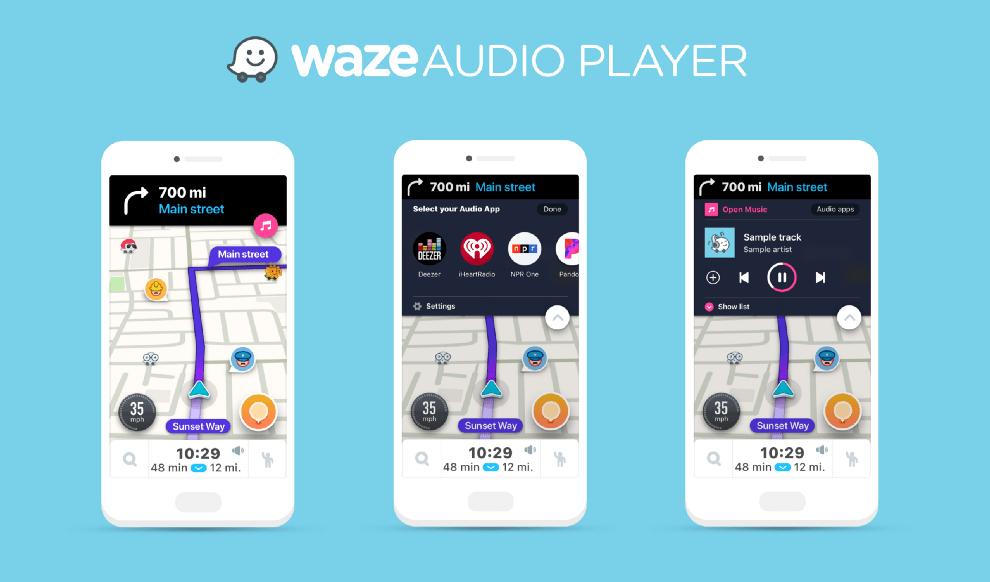 Waze's audio player. Photo via Waze