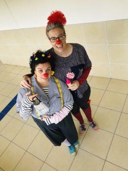 Sarah Even Haim (opera singer) and Viva Sarah Press (journalist) as educational clowns in Tel Aviv. Photo: Courtesy