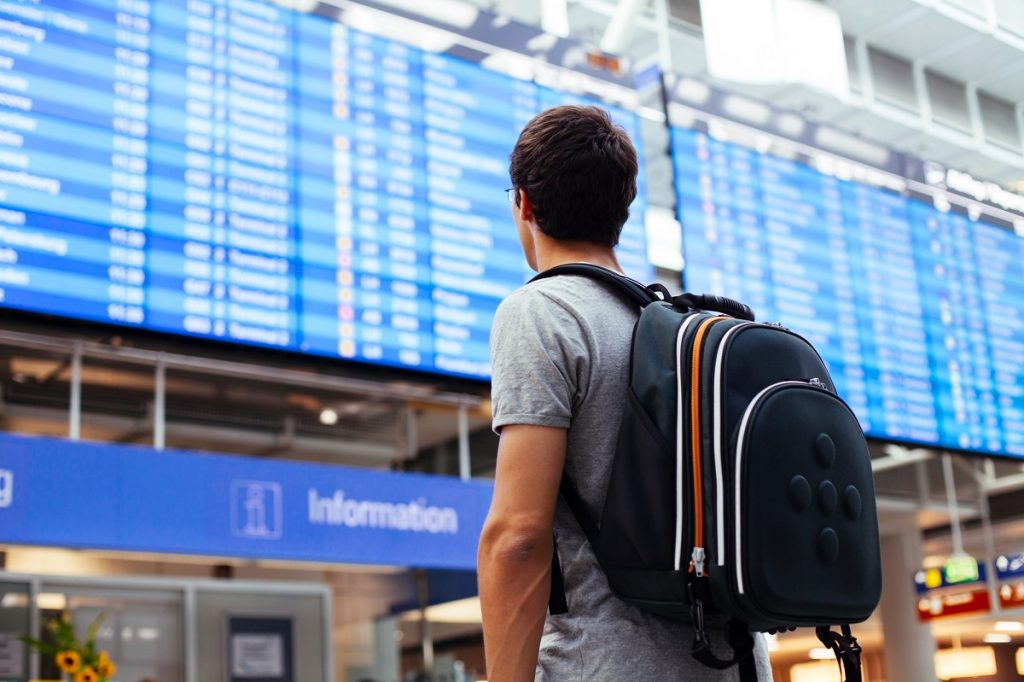 """Illustrative: A person looking at the scheduling board in an airport. <a href=""""http://dep.ph/v/46dtgf-bsat0"""" target=""""_blank"""">Deposit Photos</a>"""