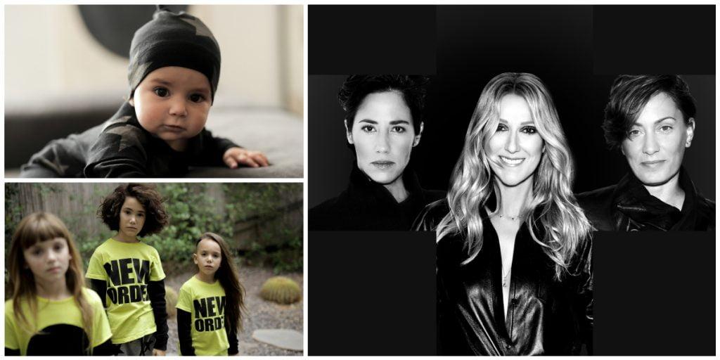 Celinunu collection on the left. Celine Dion, Iris Adler, left, and Tali Milchberg, right. Courtesy