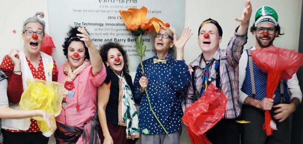 From left: Viva Sarah Press, Sarah Even Haim, Talia Safra, Moshe Cohen, Juval Ahron and Erez Hochman as educational clowns. Photo: Courtesy