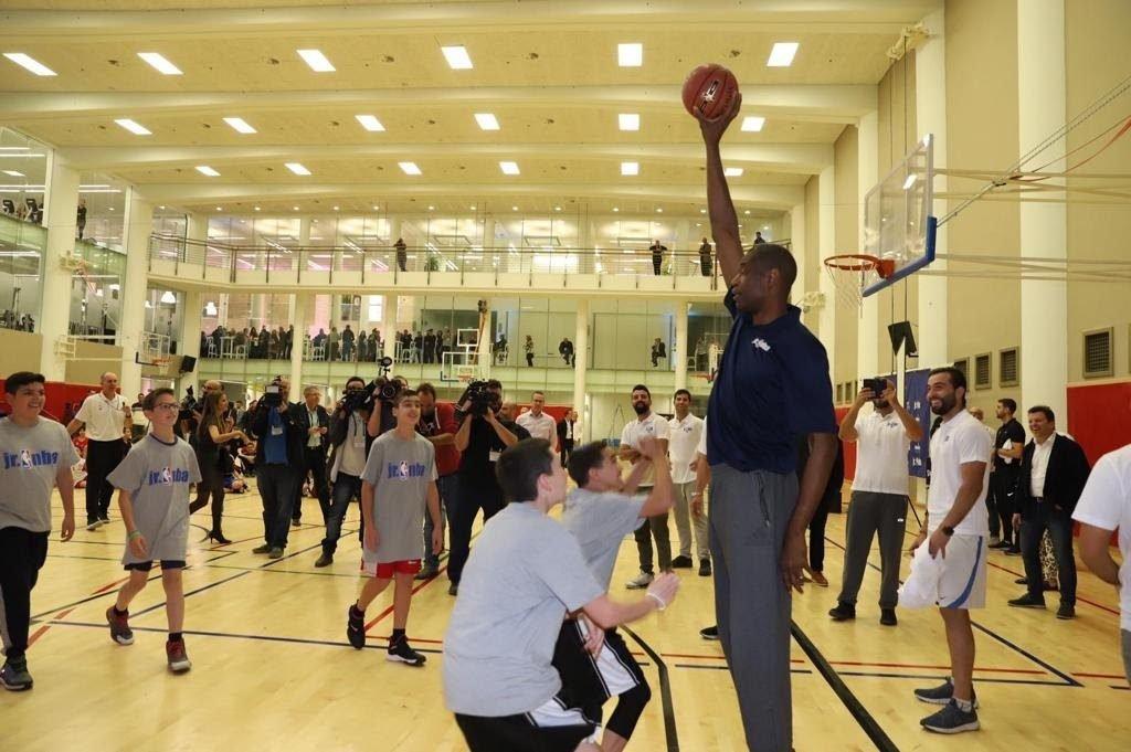 NBA Global Ambassador and Naismith Memorial Basketball Hall of Famer Dikembe Mutombo at the launch of the new Sylvan Adams Sports Center of the Jerusalem International YMCA, November 27, 2018. Photo by Dana Bar Siman Tov