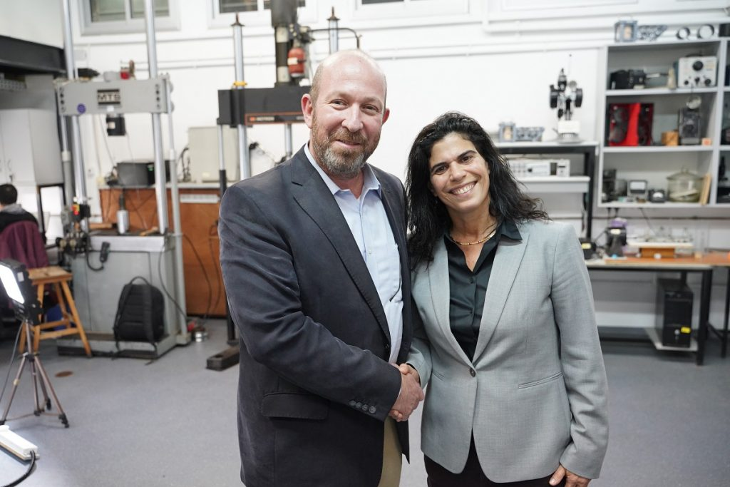 Yael Arad, first Israeli Olympic medalist, right and Prof. Alon Wolf. Courtesy of the Technion