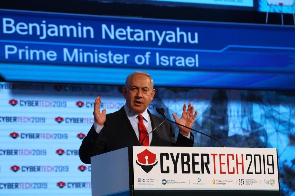 Prime Minister Benjamin Netanyahu at Cybertech 2019. Photo by Gilad Kvalerchik.