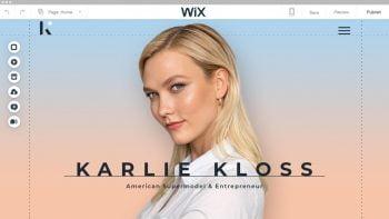 Karlie Kloss on Wix. Courtesy