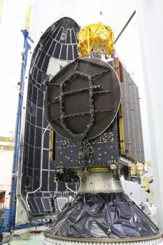 Beresheet is set above a the communication satellite (the main passenger of the launch)