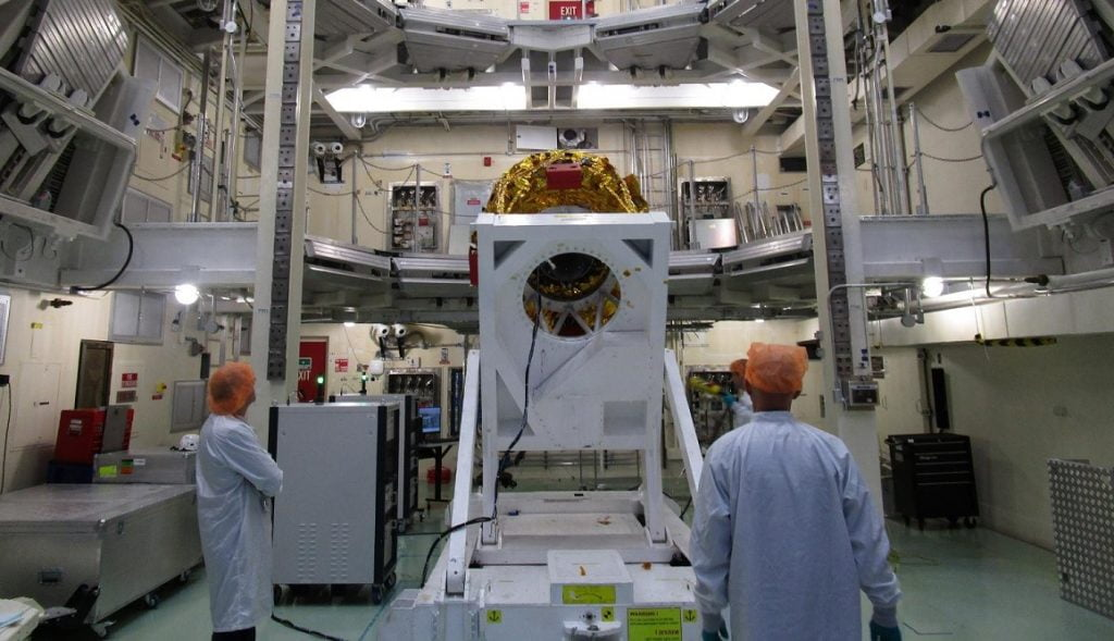 SpaceIL's Beresheet spacecraft undergoes tests before the big launch, February 21, 2019. Courtesy SpaceIL