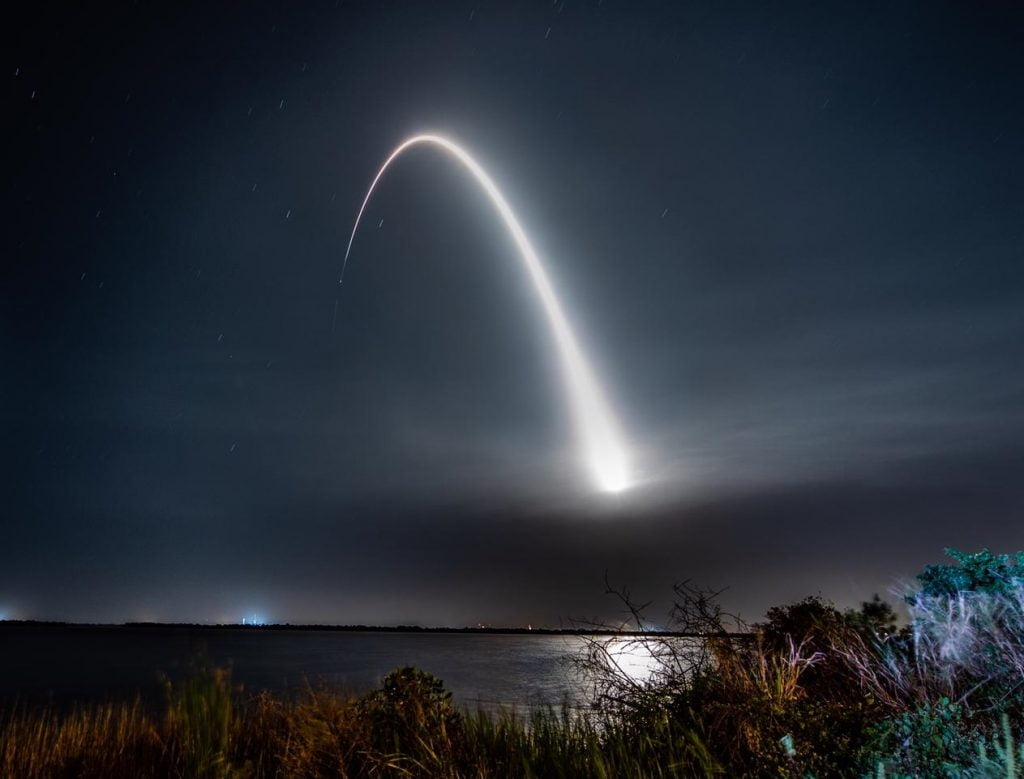 The launch of the Beresheet spacecraft aboard a SpaceX rocket on February 22, 2019. Photo via SpaceIL and IAI