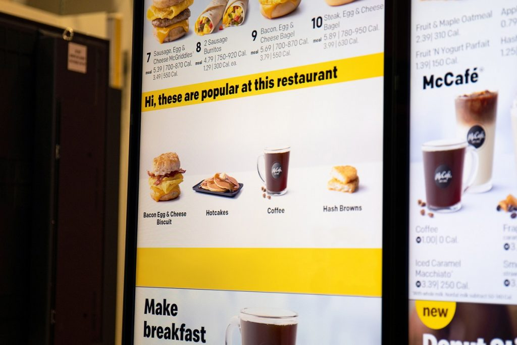 McDonald's drive-thru digital menu board shows restaurant-specific popular items, based on the learnings of the decision logic technology. Courtesy