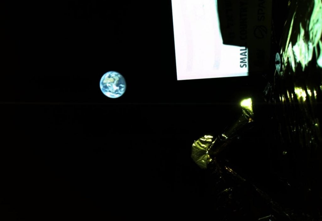 A photo of Earth taken by Beresheet at a distance of 131,000 km. Photo via SpaceIL and IAI