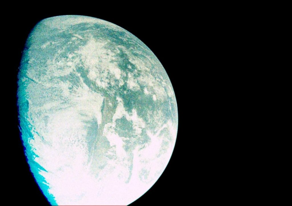 A photo of Earth from Beresheet's point if view. Photo via SpaceIl and IAI