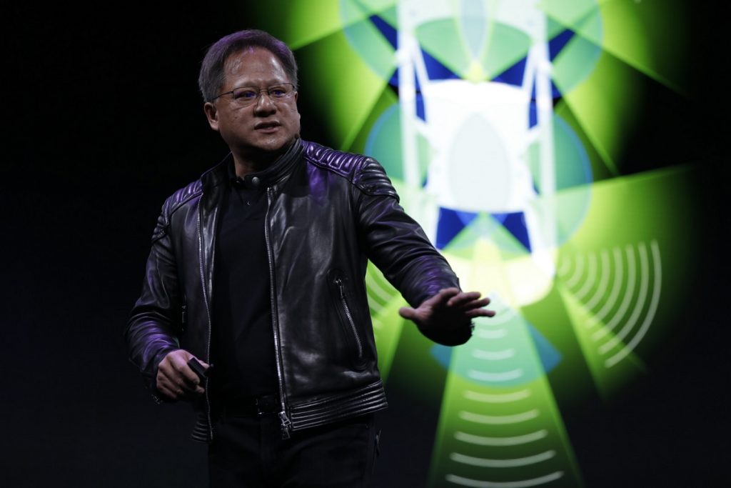 "Jensen Huang at NVIDIA's CES 2018 press conference. <a href=""https://flic.kr/p/Jm7inr"" target=""_blank"" rel="