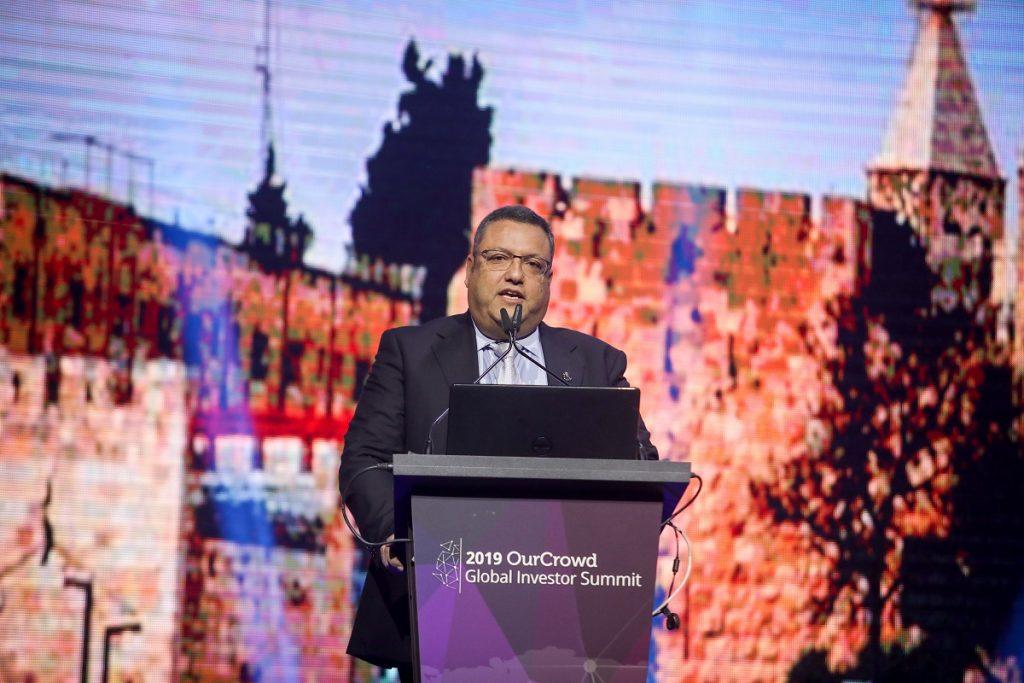 Jerusalem Mayor Moshe Lion speaking at the  OurCrowd summit March 7, 2019. Noam Moskowitz photography