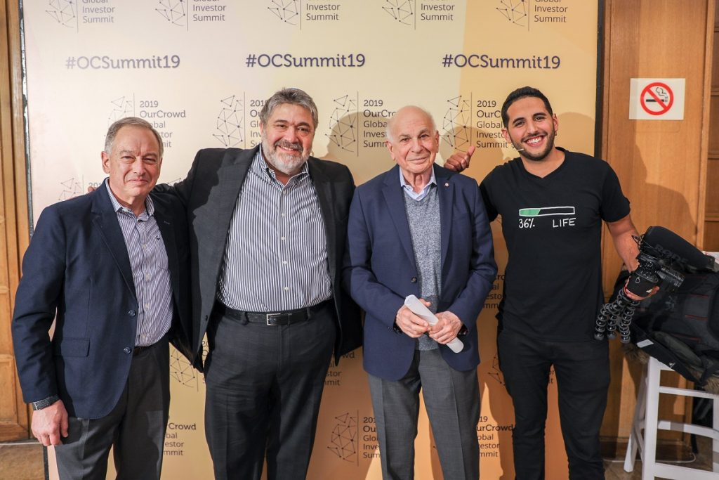 From left to right: Ron Fisher, President, Softbank Holdings, and Vice Chairman, Sprint; OurCrowd founder Jon Medved, Daniel Kahneman, Nobel Laureate in economics and best-selling author; and Nuseir 'Nas' Yassin, Nas Daily Video Blogger and Entrepreneur.  Noam Moskowitz photography