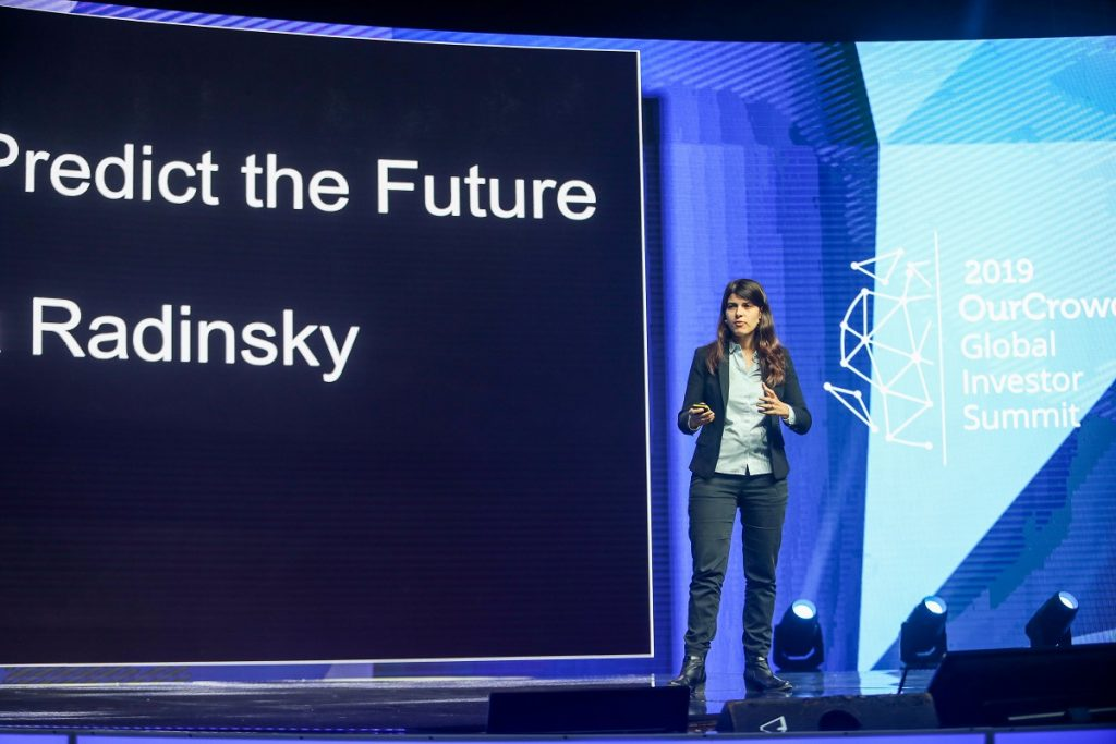 Dr. Kira Radinsky speaking at the OurCrowd summit March 7, 2019. Noam Moskowitz photography
