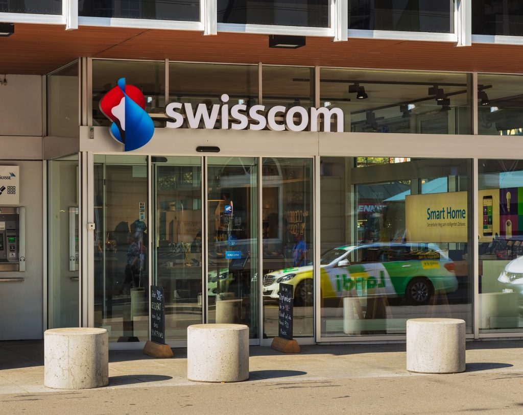 The entrance to a Swisscom store in the town of Winterthur, Switzerland. Deposit Photos