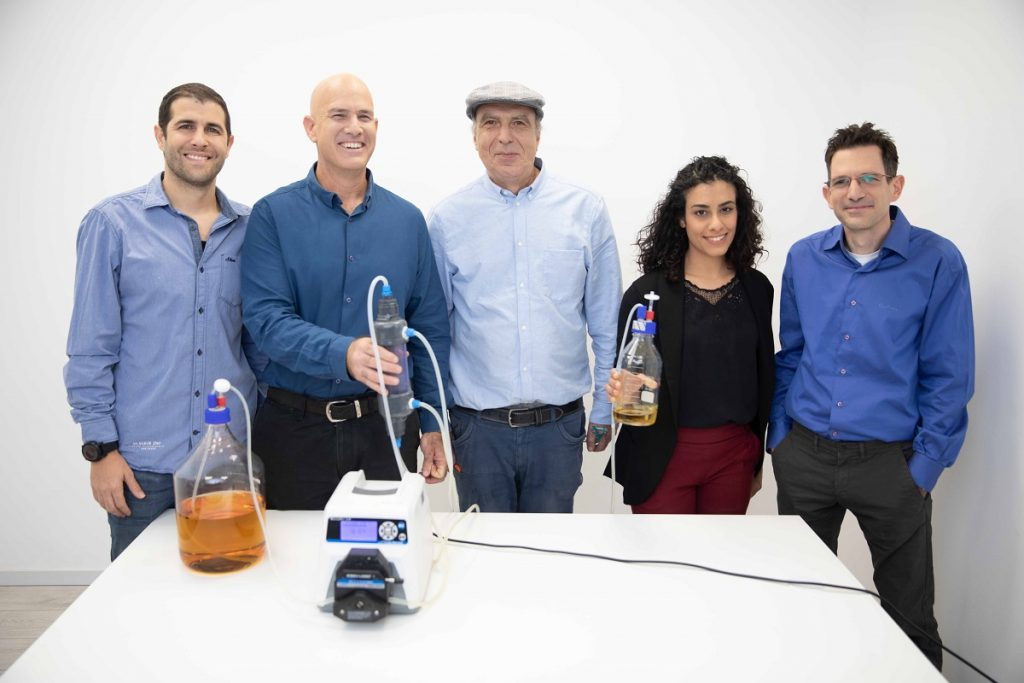 The Better Juice Team from left to right: R&D Manager Aviv Cohen, Founder and CEO Dr. Eran Blachinsky, Chief Scientific Officer Dr. Roni Shapira, R&D Researcher Rotem Cohen, and R&D Researcher & Lab Manager Dr. Elad Landau. Courtesy