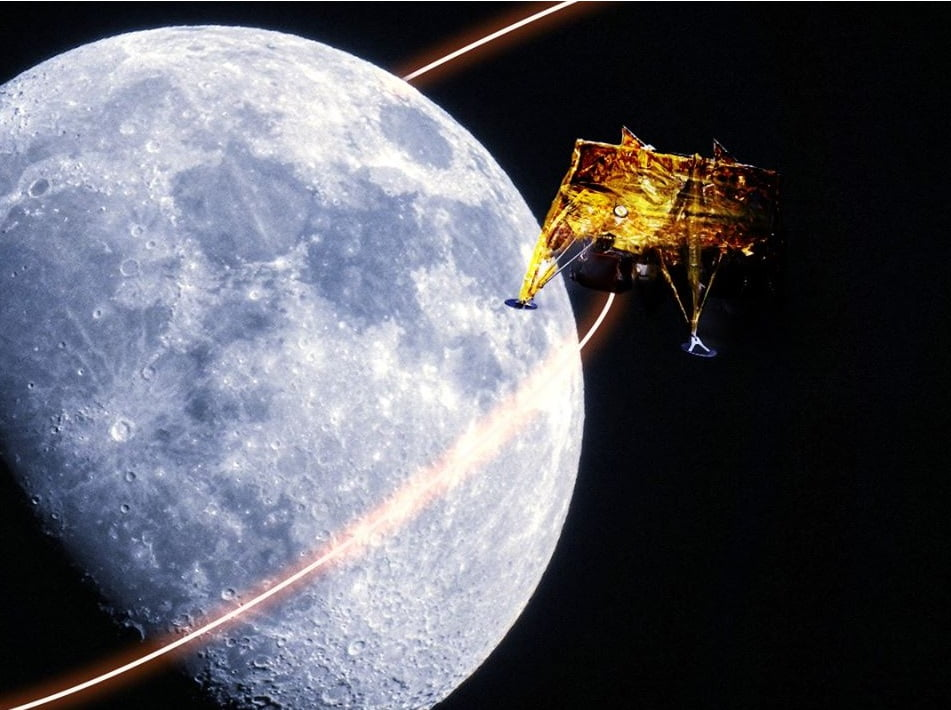 An illustration of the Beresheet spacecraft orbiting the moon. Photo via SpaceIL and IAI