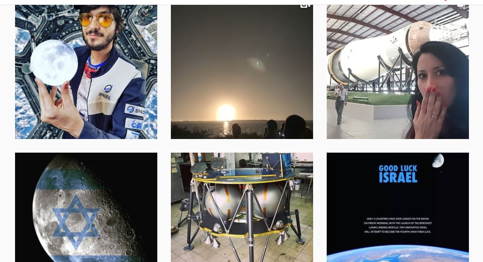 A screenshot from Instagram showing posts with the 'Israel to the moon' hashtag.