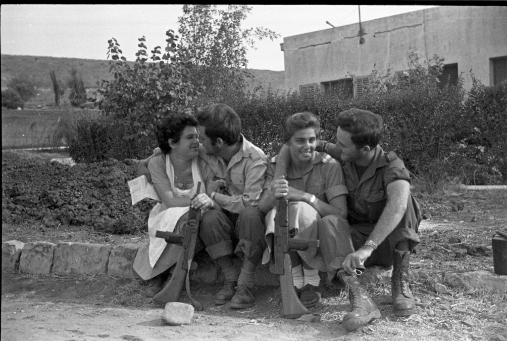 Soldiers on leave following the Sinai Campaign, 1956, from the Eddie Hirschbein Collection, the Bitmuna Collections
