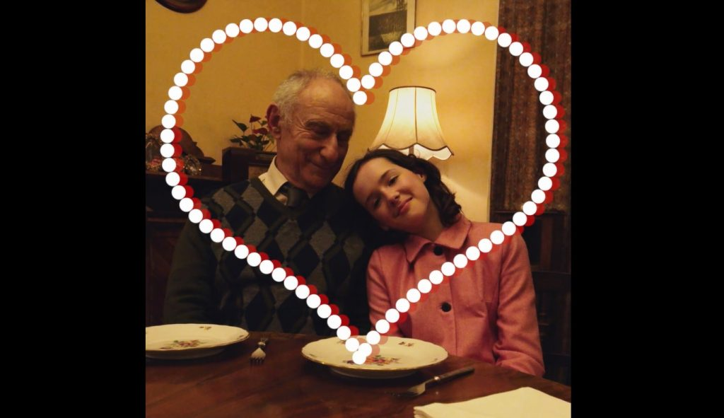 A screenshot from Eva Stories showing the teen with her grandfather.