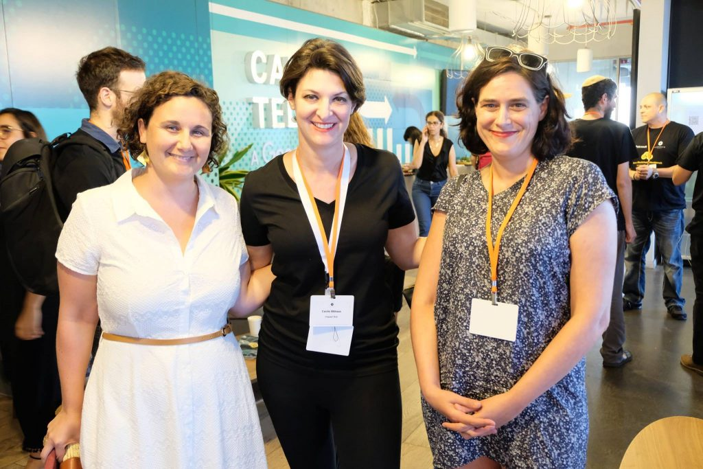 Yael Rozencwajg, center, and Omri Boral, left, co-founder and CEO of Tech for Good. Courtesy