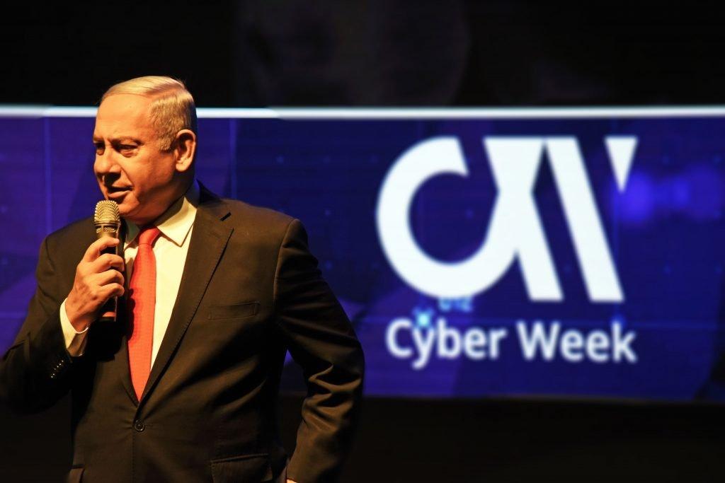 Prime Minister Benjamin Netanyahu speaks at the 9th annual Cyber Week conference in Tel Aviv, June 26, 2019. Photo by Anjali Berdia