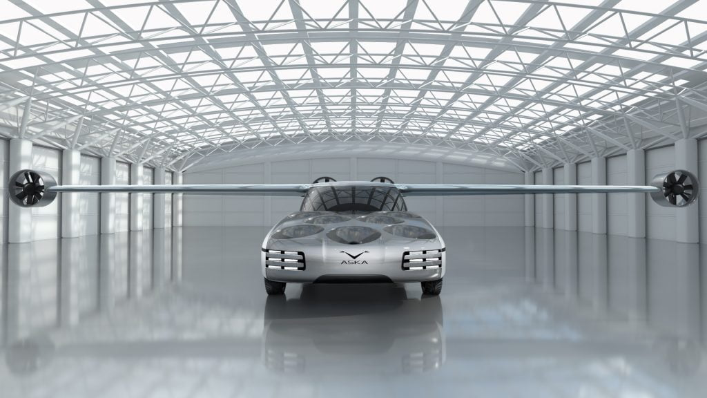 A front view of the design of the Aska, an electric, autonomous flying car by NFT. Courtesy