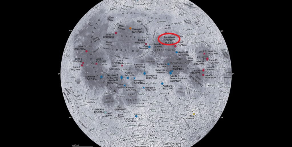 A screenshot of the National Geographic Moon map showing Israel's Beresheet spacecraft as a purple dot.