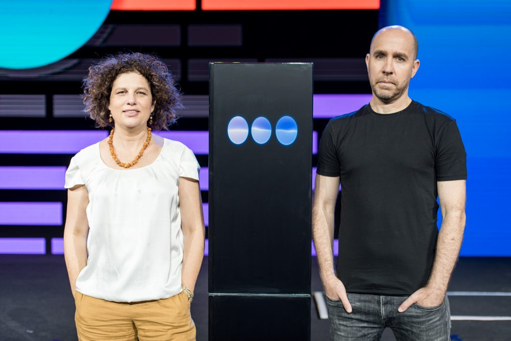 Dr. Ranit Aharonov, left, and Dr. Noam Slonim at the IBM Think Summit event in Tel Aviv June 13, 2019. Photo by Or Kaplan