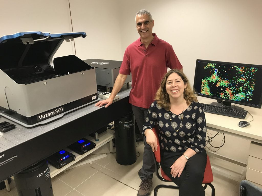 Professor Uri Ashery, head of TAU's Sagol School of Neuroscience and the George S. Wise Faculty of Life Sciences at Tel Aviv University, left, with Dr. Dana Bar-On, of the Sagol School of Neuroscience. (Courtesy)