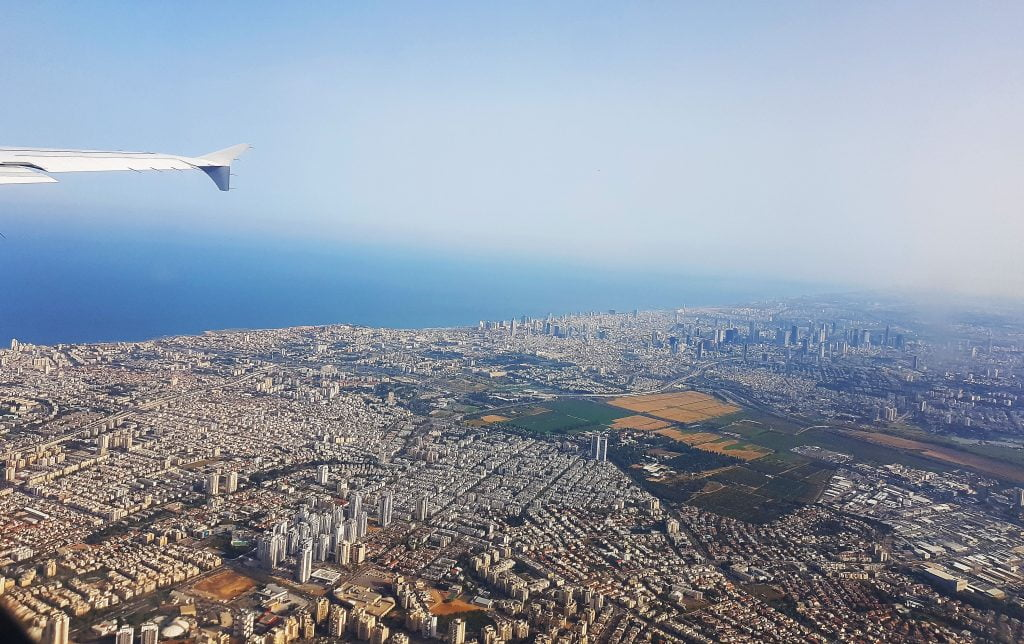 An aerial view of Tel Aviv from aboard an outgoing flight. Photo by NoCamels staff
