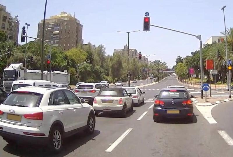 The view from inside a Yandex autonomous car at a traffic light in Tel Aviv. Photo via Yandex