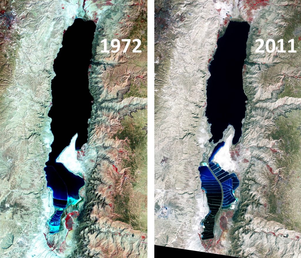 Satellite images of the Dead Sea taken in 1972 and 2011, showing how much water levels have dropped since Israel and Jordan began diverting much of the freshwater entering the Dead Sea. Credit: NASA