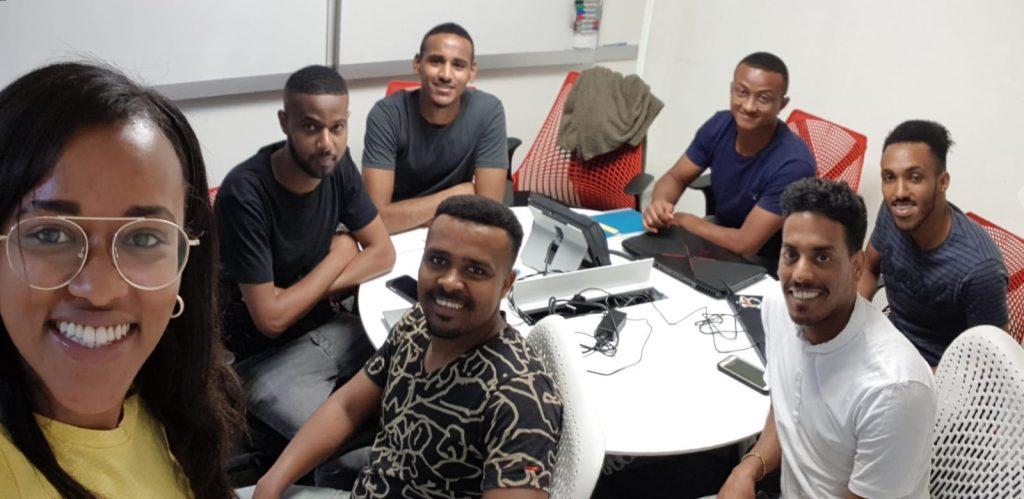Yehudit Metoko and the Kube team at the Tech-Career hackathon in May 2019 in Netanya. Courtesy