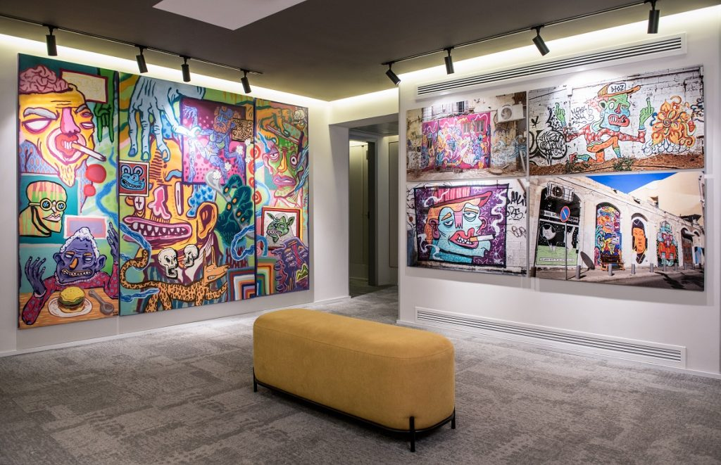 Art at the Link hotel and hub in Tel Aviv. Photo by Sivan Askayo