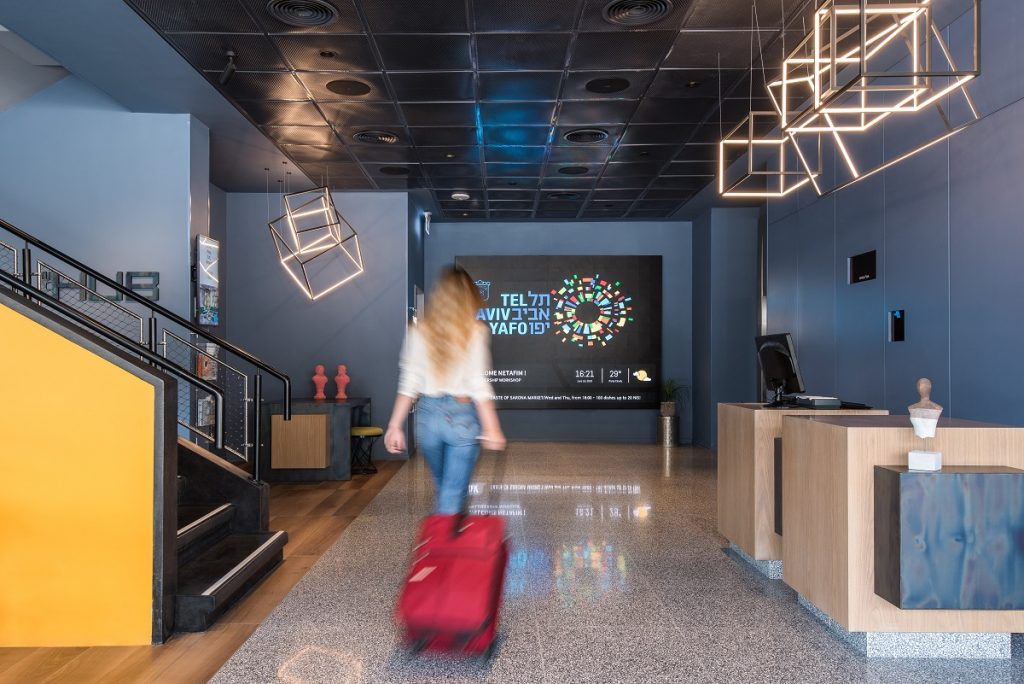 The entrance to the Link hotel and hub. Photo by Sivan Askayo