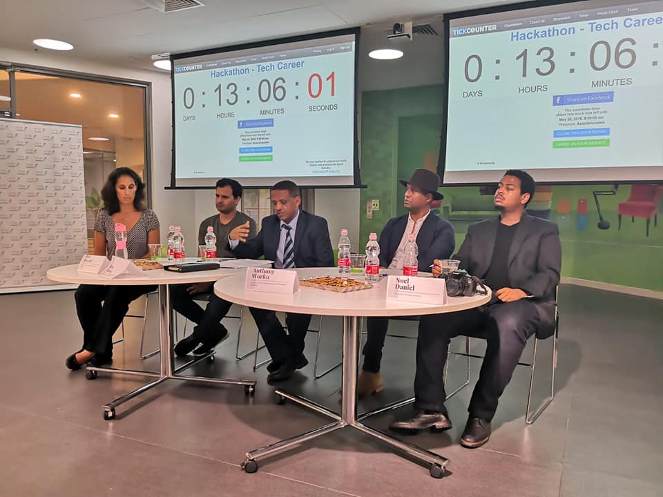 The panel at the Tech-Career Hackathon which includes entrepreneur Anthony Worku and Kudu Ventures' Noel Daniel. Courtesy